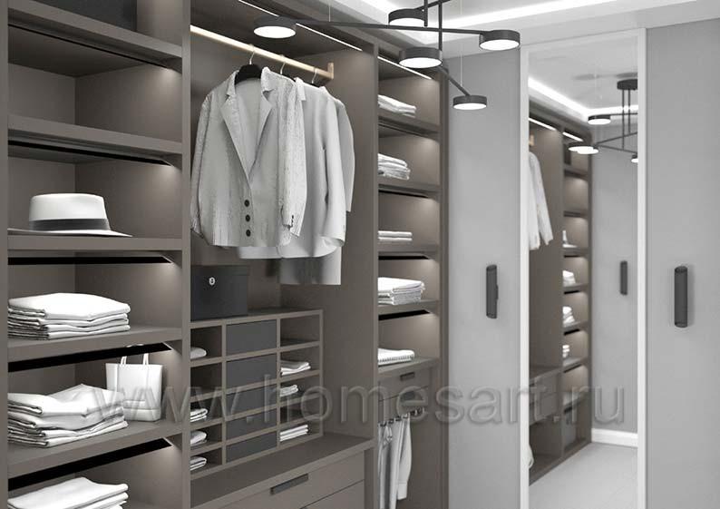 Мебель для гардеробной в квартире в стиле ЛОФТ