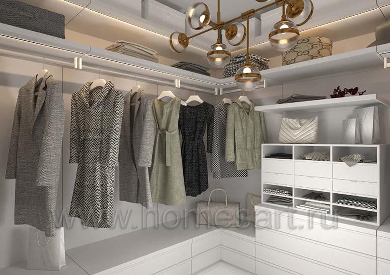 Мебель для гардеробной в доме в стиле ЛОФТ